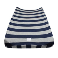 Organic Cotton Changing Pad Cover - Bold Stripe, Blueberry