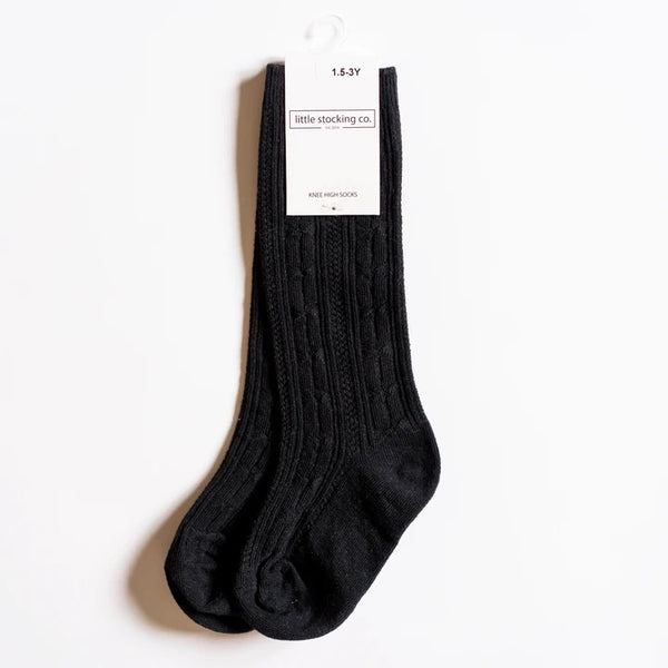 Cable Knit Knee High Socks - Black