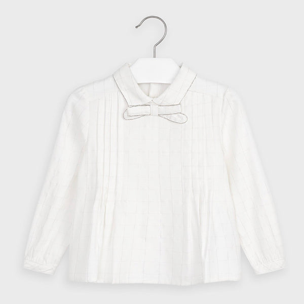 High Neck Bow Blouse - Off White with Silver Trim
