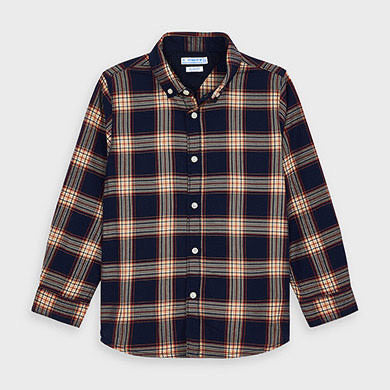 Long Sleeve Button-Up Shirt - Slim Fit, Navy Plaid