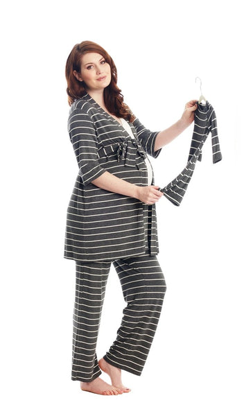 Analise 5 Piece Set - Charcoal and Cream Stripe