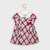Plaid Dress with Collar - Scarlet & Gray