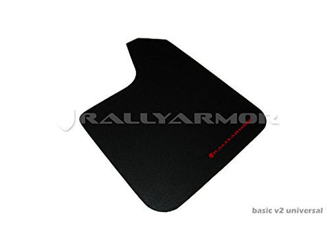 Rally Armor Universal fitment (no hardware) Basic Black Mud Flap w/ Red Logo