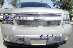 APS C76467S Mesh Grille for Chevrolet Avalanche/Suburban/Tahoe (Chrome) - Tow Hook