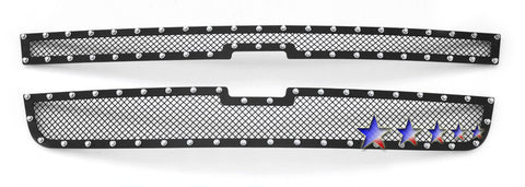 APS CL5306H Rivet Grille for Chevrolet Silverado (Black Powder Coated) - Main Upper