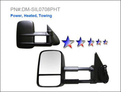 APS DM-SIL0708PHT Door Mirror Complete Set for Chevrolet Silverado, GMC Sierra (Black) - Left & Right