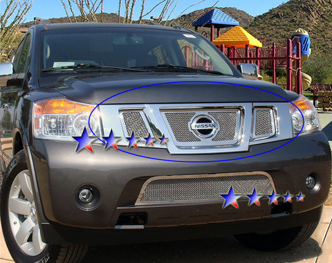 APS N76507T Mesh Grille for Nissan Armada (Chrome) - Main Upper
