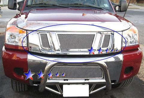 APS N76520T Mesh Grille for Nissan Titan (Chrome) - Main Upper