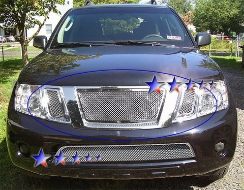 APS N76523T Mesh Grille for Nissan Pathfinder (Chrome) - Main Upper