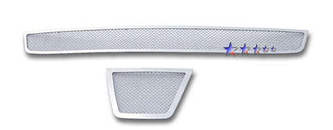APS N76634T Mesh Grille for Nissan Rogue (Chrome) - Main Upper + Lower Bumper
