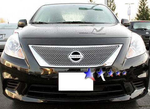 APS NX5907S X Mesh Grille for Nissan Versa (Chrome) - Main Upper