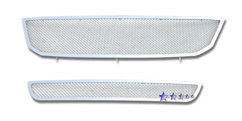 APS T76635T Mesh Grille for Toyota Avalon (Chrome) - Main Upper + Lower Bumper