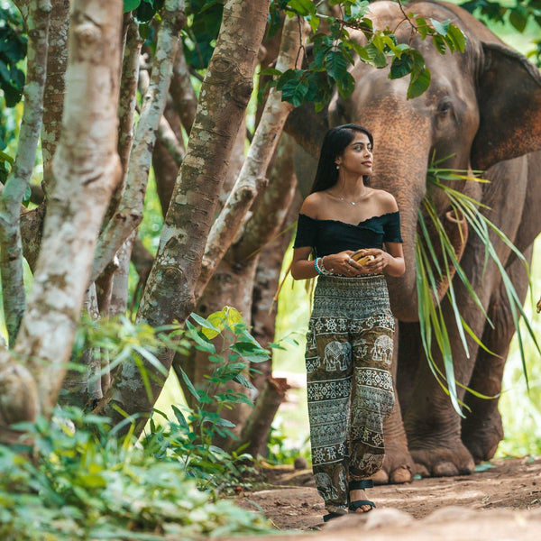 COLOMBO ELEPHANT PANTS - GREEN Elepanta Women's Pants - Buy Today Elephant Pants Jewelry And Bohemian Clothes Handmade In Thailand Help To Save The Elephants FairTrade And Vegan
