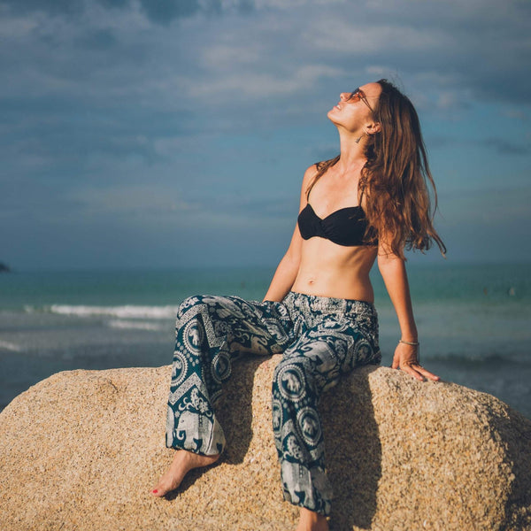 Krabi Elephant Pants - TEAL Elepanta Women's Pants - Buy Today Elephant Pants Jewelry And Bohemian Clothes Handmade In Thailand Help To Save The Elephants FairTrade And Vegan