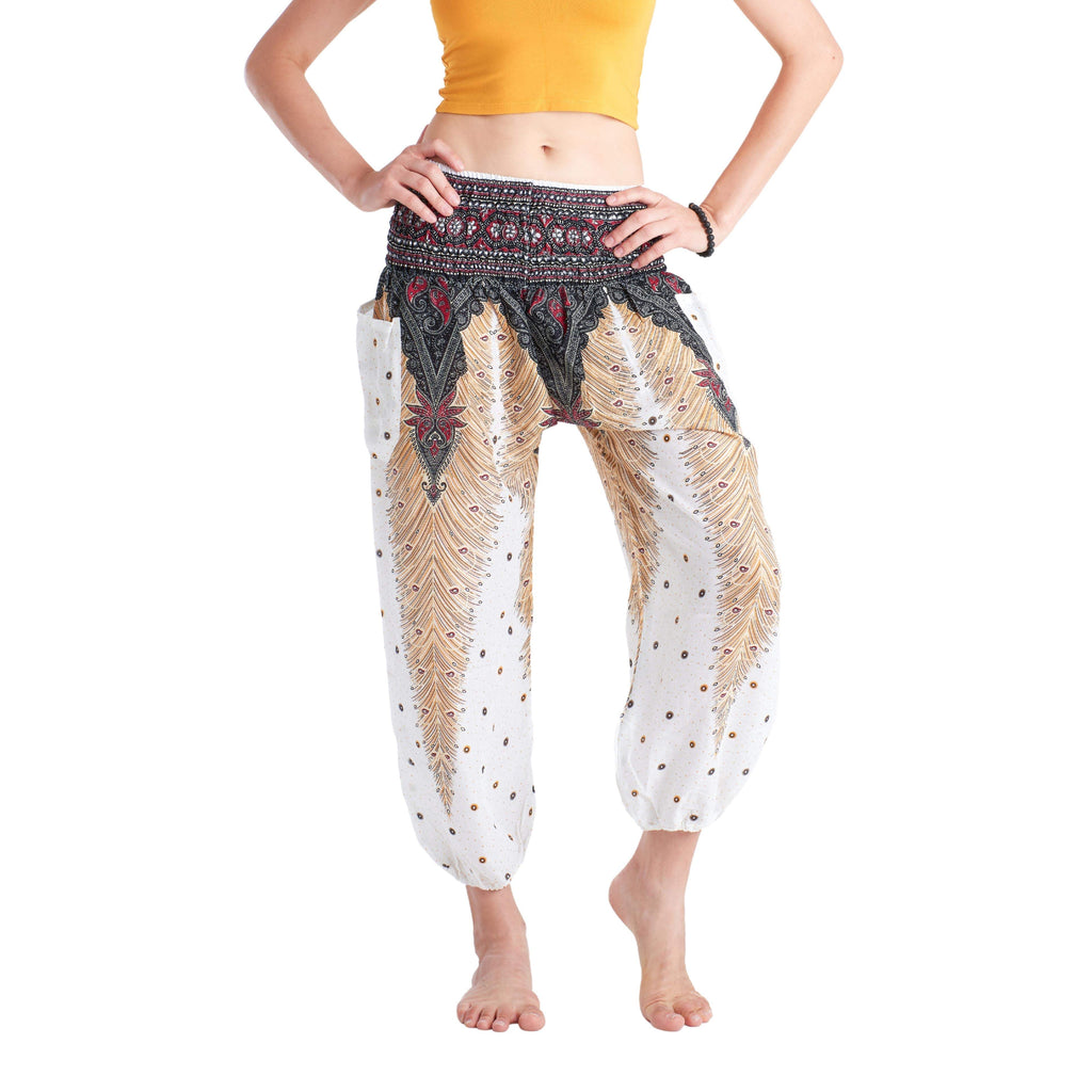 LOPBURI ELEPHANT PANTS - WHITE Elepanta Harem Pants | Elastic Waist - Buy Today Elephant Pants Jewelry And Bohemian Clothes Handmade In Thailand Help To Save The Elephants FairTrade And Vegan