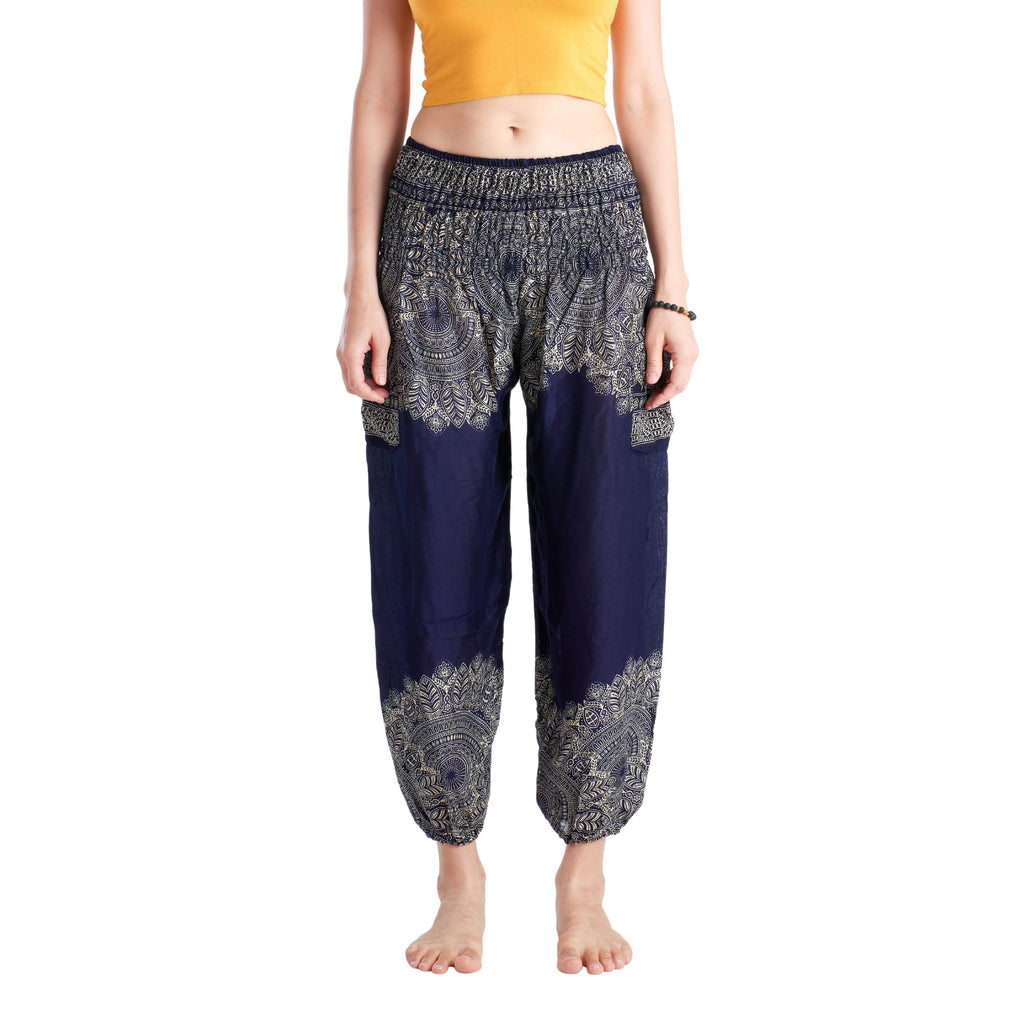 MALACCA PANTS - NAVY BLUE Elepanta Harem Pants | Elastic Waist - Buy Today Elephant Pants Jewelry And Bohemian Clothes Handmade In Thailand Help To Save The Elephants FairTrade And Vegan