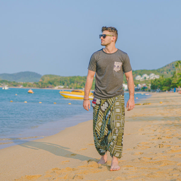 THAI TRIBAL PANTS - GREEN Elepanta Tribal | Hippie Pants - Buy Today Elephant Pants Jewelry And Bohemian Clothes Handmade In Thailand Help To Save The Elephants FairTrade And Vegan