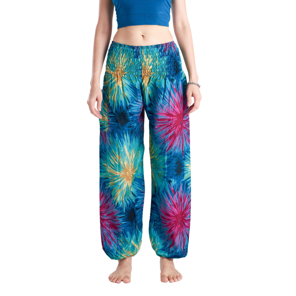 TIE DYE PANTS - BLUE Elepanta Harem Pants | Elastic Waist - Buy Today Elephant Pants Jewelry And Bohemian Clothes Handmade In Thailand Help To Save The Elephants FairTrade And Vegan