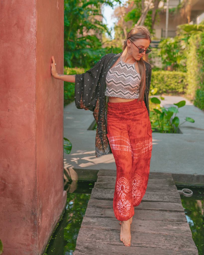 TIE DYE PANTS - RED Elepanta Elastic Waist | Harem Pants - Buy Today Elephant Pants Jewelry And Bohemian Clothes Handmade In Thailand Help To Save The Elephants FairTrade And Vegan