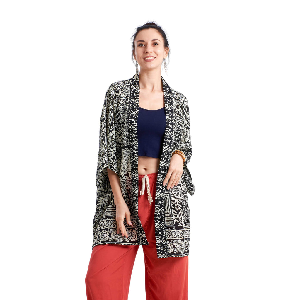 TULUM KIMONO Elepanta Beach Kimono | Unisex - Buy Today Elephant Pants Jewelry And Bohemian Clothes Handmade In Thailand Help To Save The Elephants FairTrade And Vegan