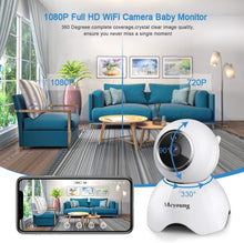 Load image into Gallery viewer, Wireless Security Camera, Upgraded Native 1080P WiFi Dog Pet Camera, Meyoung Wireless Indoor Pan/Tilt/Zoom Home Camera Baby Monitor IP Camera - Night Vision,Motion Detection,2-Way Audio,Cloud Service