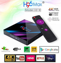 Load image into Gallery viewer, H96 MAX RK3318 4GB RAM 64GB ROM 5G WIFI Bluetooth 4.0 Android 9.0 4K VP9 H.265 Smart TV Box