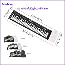 Load image into Gallery viewer, 49 key hand roll electronic piano portable folding soft Flexible keyboard roll up piano with speaker