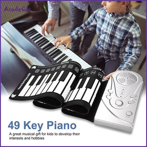 49 key hand roll electronic piano portable folding soft Flexible keyboard roll up piano with speaker