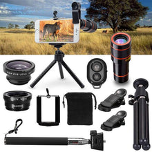 Load image into Gallery viewer, Complete 10pc all in one Camera photo Lens 12X Telescope, Selfie Stick ,Tripod with a Bluetooth Remote Kit