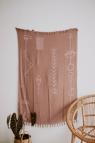 Abstract Tapestry in Dusty Rose