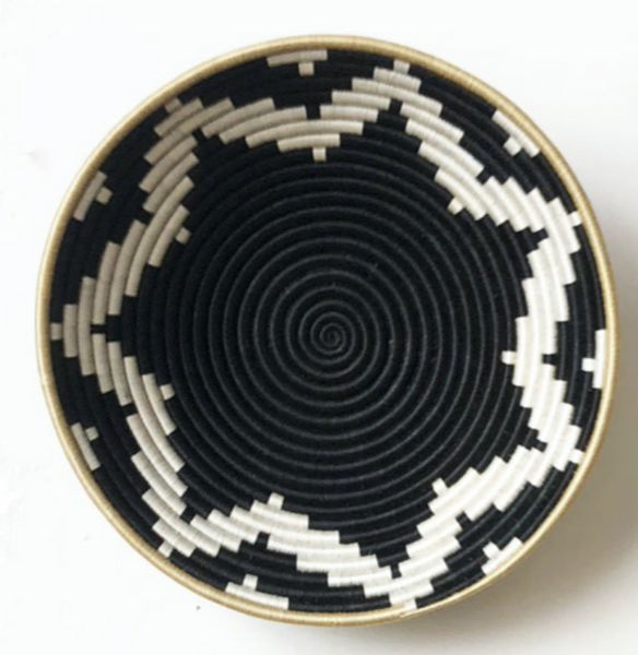 "16"" Black and white bowl"