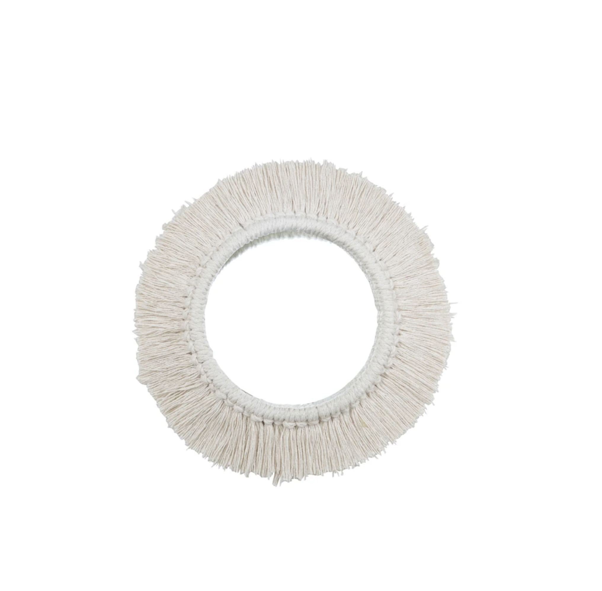 White Fringe Wall Mirror