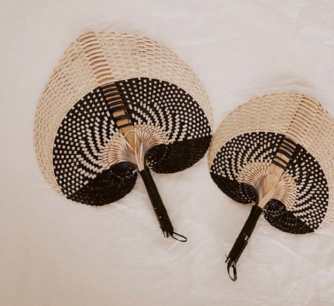 Black Large straw fan