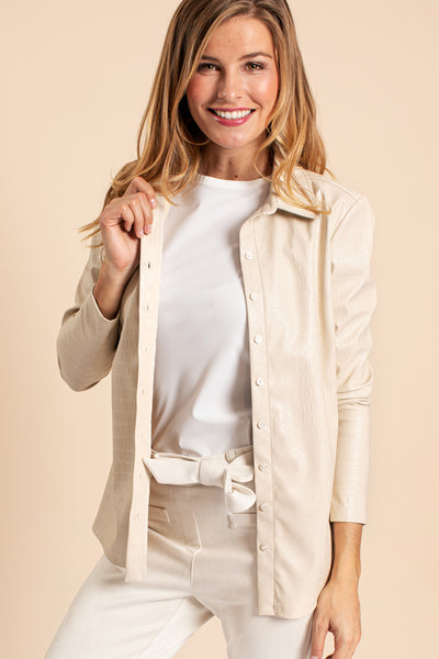 Studio Anneloes Poppy croco leather shirt off white NIEUW. 05439