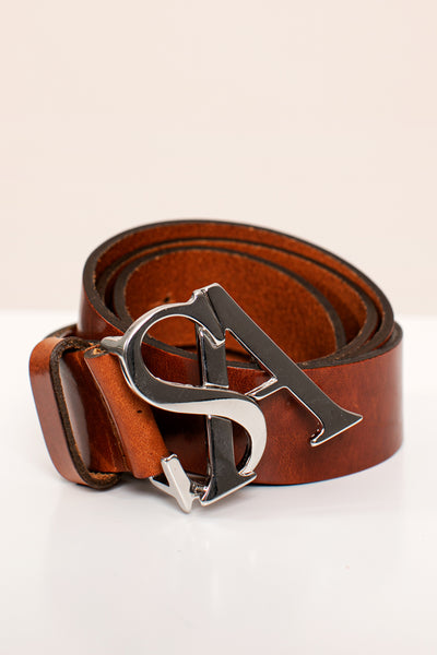 Studio Anneloes Silver buckle leather belt NIEUW. 05209.