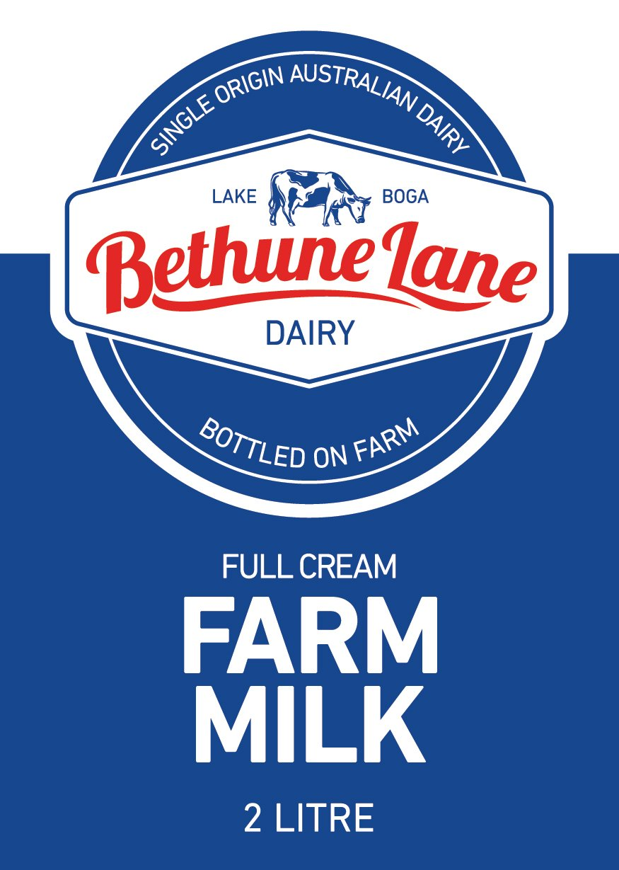 FULL CREAM FARM MILK 2LT BETHUNE LANE DAIRY