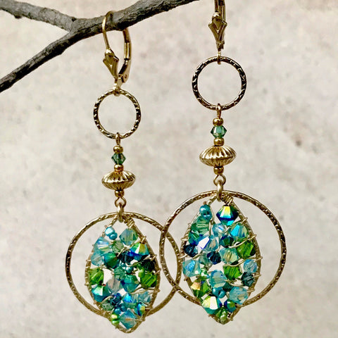 Belle Époque — Turquoise & Sage — Bloom Collection Earrings