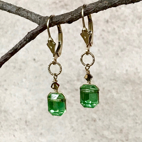 Vintage Emerald Cut Crystal Earrings — SM — Peridot Shade With 24kt Gold Backing