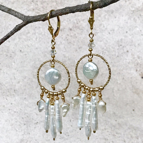 Illuminati — White Pearl Earrings