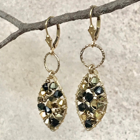 Screaming Goodness! — Gold & Black — Bloom Collection Earrings