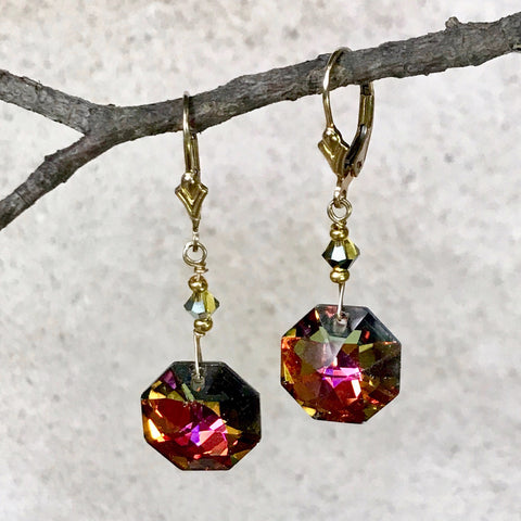 Sunrise, Sunset — Vintage Octagon Crystal Earrings