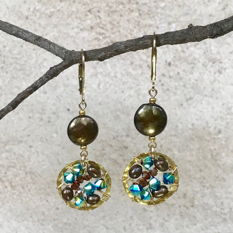 Earth and Sea — Turquoise and Mocha — Bloom Collection Earrings