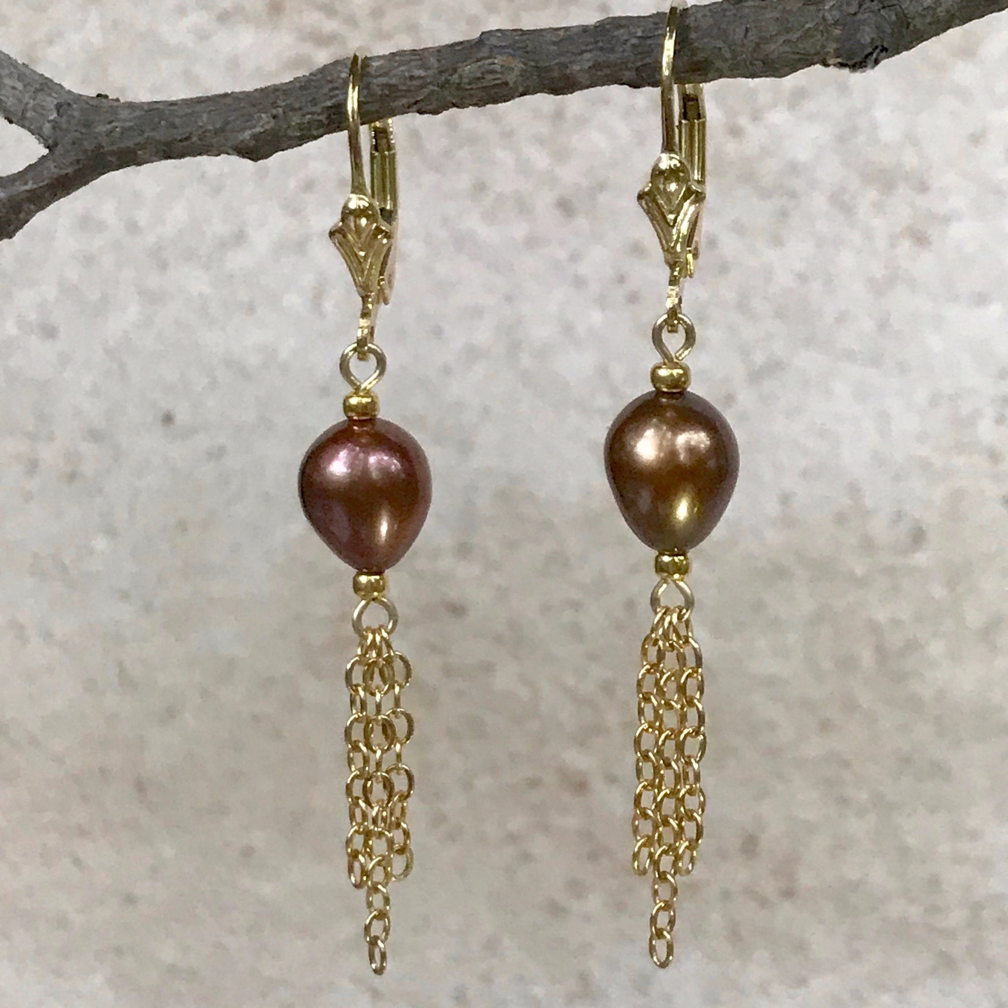 Angélique — Cocoa Freshwater Pearl Earrings