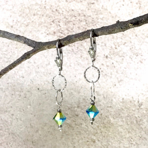Sparkle and Shine — Peacock Turquoise Crystal Earrings
