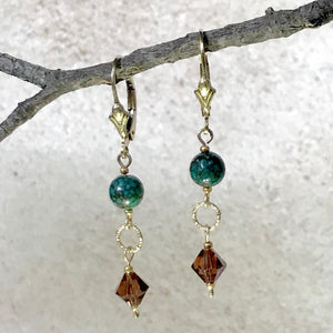 Sass 2 — Natural Turquoise and Crystal Earrings