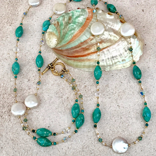Turquoise Barrel and White Coin Pearl Wraparound Necklace