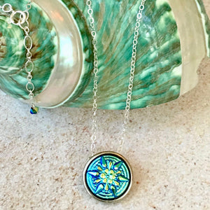 Fabulous for layering! Turquoise Star Pendant Necklace with Silver