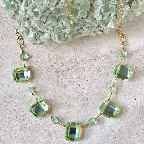 Gorgeous Vintage Emerald-Cut Crystal Necklace — XL — Green Tea