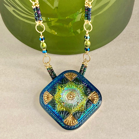 "Cool Jewels — ""Iridescent Fan Design"" Pendant Necklace"