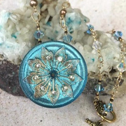 Sky Blue Lotus Pendant Necklace